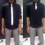 white silk tie with black shirt