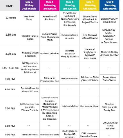 lfw Schedule 2012