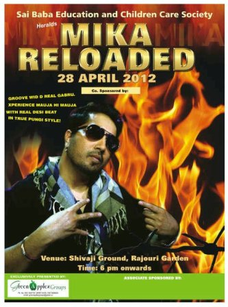 Mika Reloaded Concert on 28th April 2012 at Delhi: Charity Show for Orphan Students
