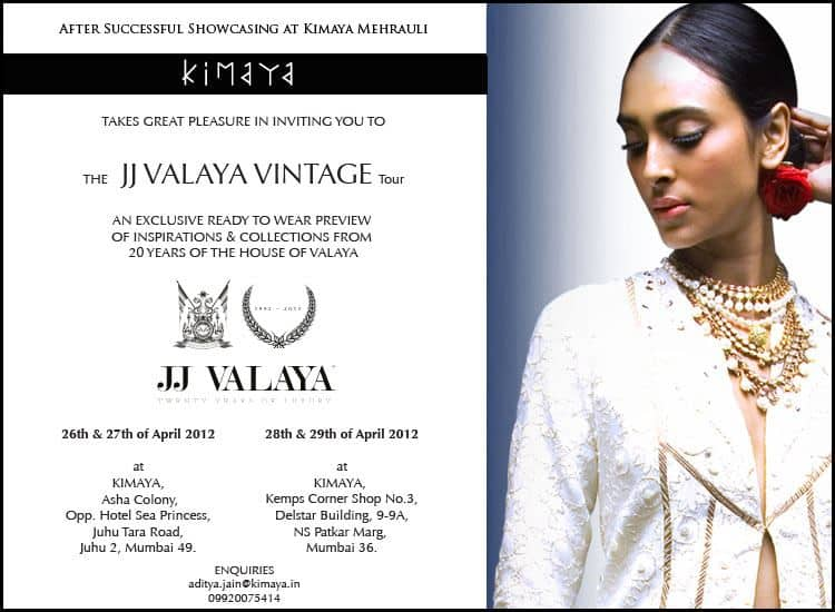JJ VALAYA Vintage Tour Schedule: JJ Valaya collection & Exhibition at Mumbai Till 29 April