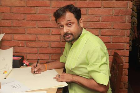 Niket Mishra making shoe sketch