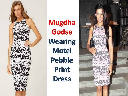 Mugdha Godse Spotted Wearing Motel Pebble Print Dress at HouseProud.in Launch