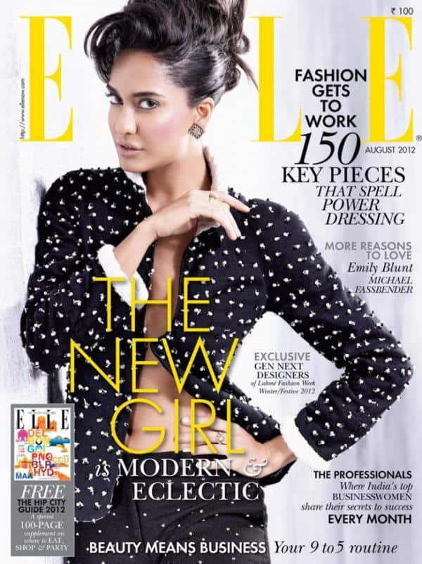 Elle India August 2012 Cover Page: Lisa Haydon in Namrata Joshipura