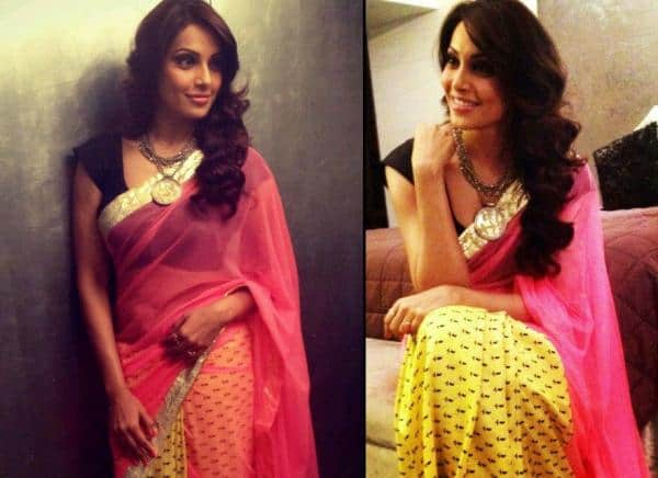 Bipasha Basu Looks like Goddess in Masaba Saree at English Vinglish premier