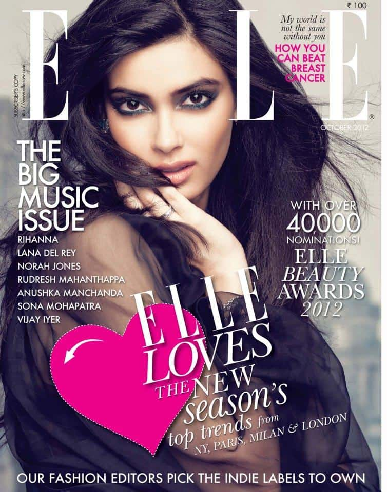 Diana Penty on Elle India October 2012 Cover Page