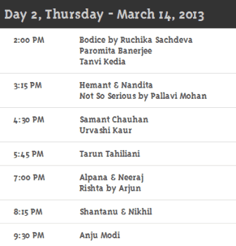 Day 2 Schedule WillsLifestyleIndiaFashionWeek