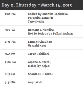 Day 2 Schedule WillsLifestyleIndiaFashionWeek