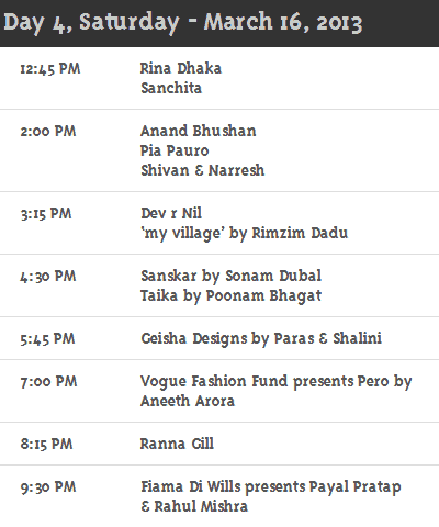 Day 4 WillsLifestyleIndiaFashionweek Schedule