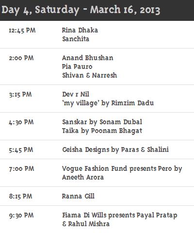 Day 4 WillsLifestyleIndiaFashionweek Schedule