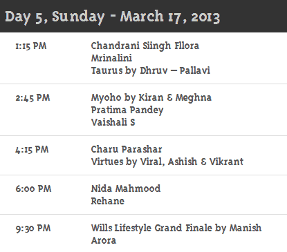 Wills Lifestyle India Fashion Week Autumn Winter 2013 Schedule