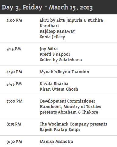 Day3 Schedule WillsLifestyleIndiaFashionweek