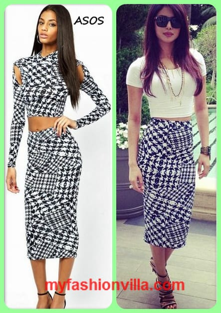 Get This Look: Priyanka Chopra in Houndstooth Skirt from ASOS