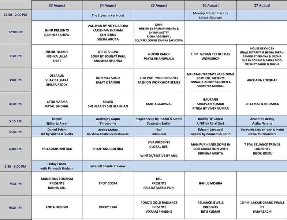 Lakme Fashion Week Winter Festive 2013 Schedule