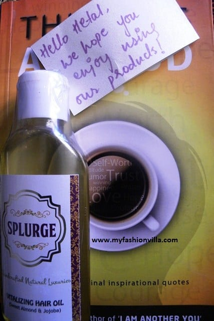 SPLURGE Vitalizing Hair Oil