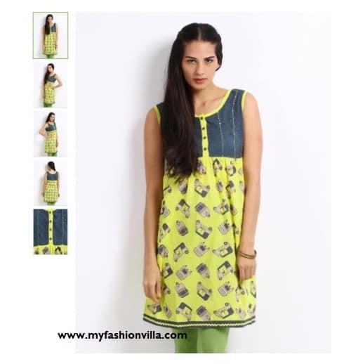 Amari Women Yellow & Blue Printed Kurta