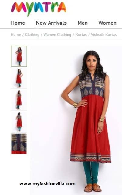 Vishudh Women Red Printed Anarkali Kurta