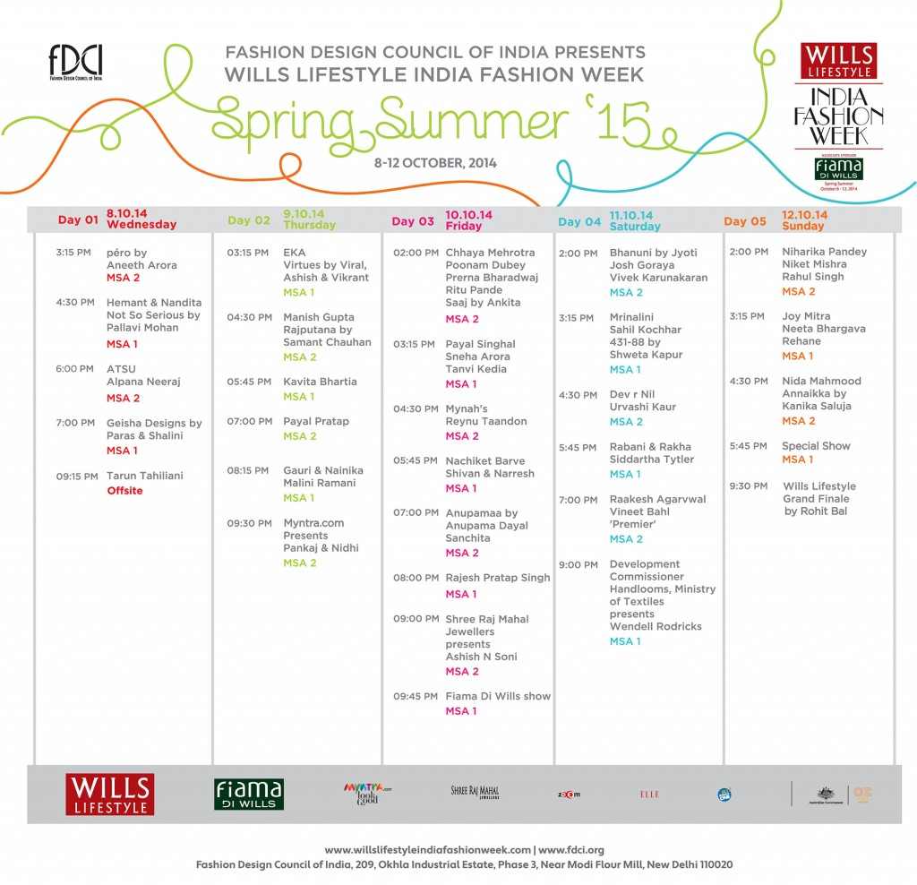 WIFW SS 2015 Show-schedule