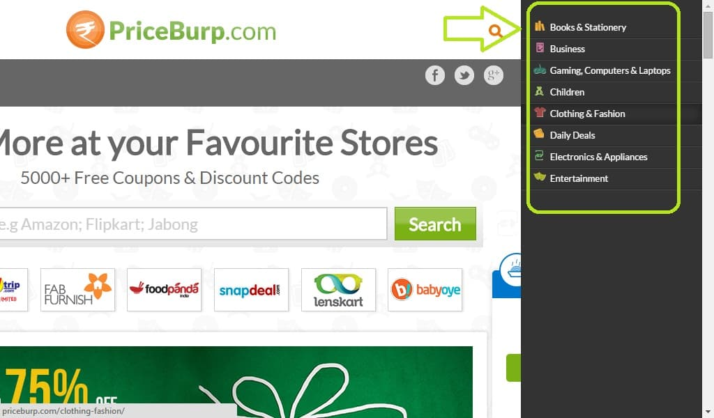 priceburp coupon website