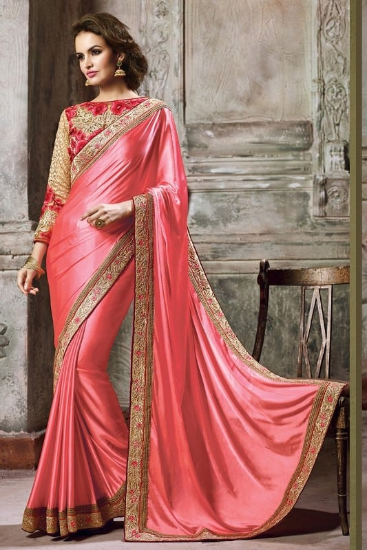 Pink Plain Saree