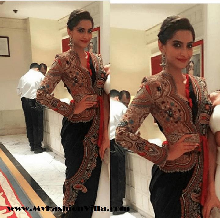 Sonam Kapoor in Anamika Khanna Saree for Masaba's Sangeet