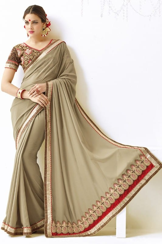Work Beige Plain Saree