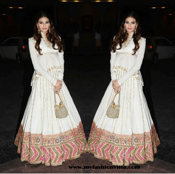 athiya shetty in Rohit Bal for Masaba Gupta's Wedding Reception