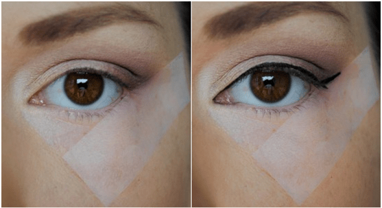 Use tape or a spoon for the perfect winged eyeliner