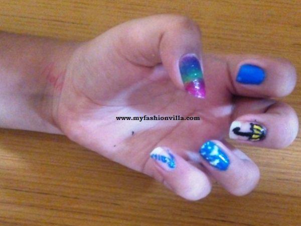 Monsoon Inspired Nail Art Final Look