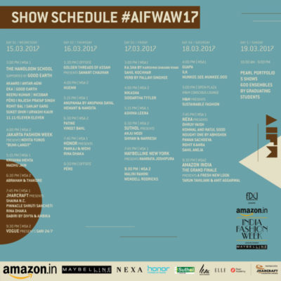Amazon India Fashion Week A/W 2017 Schedule, Designers & Detail