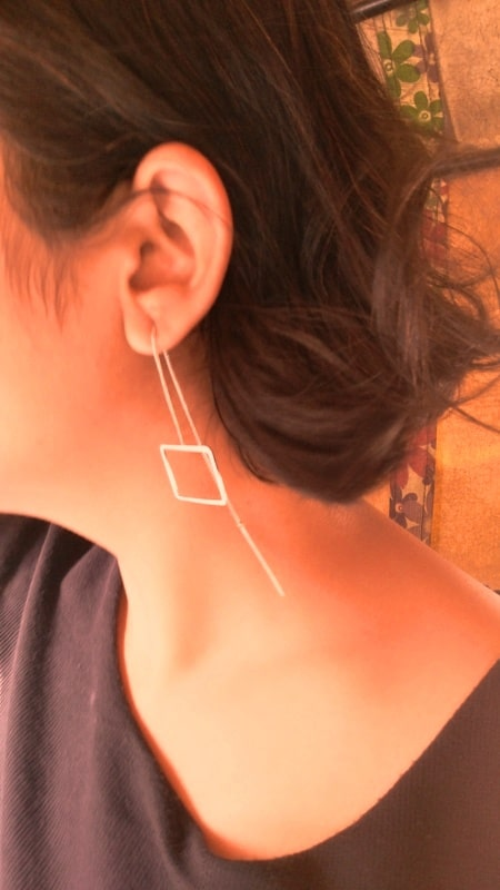 Wearing Square Chain Link Earring from Damselcode