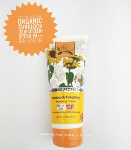 TBC by Nature Organic Sunblock Sunscreen Cream SPF 30+ Review