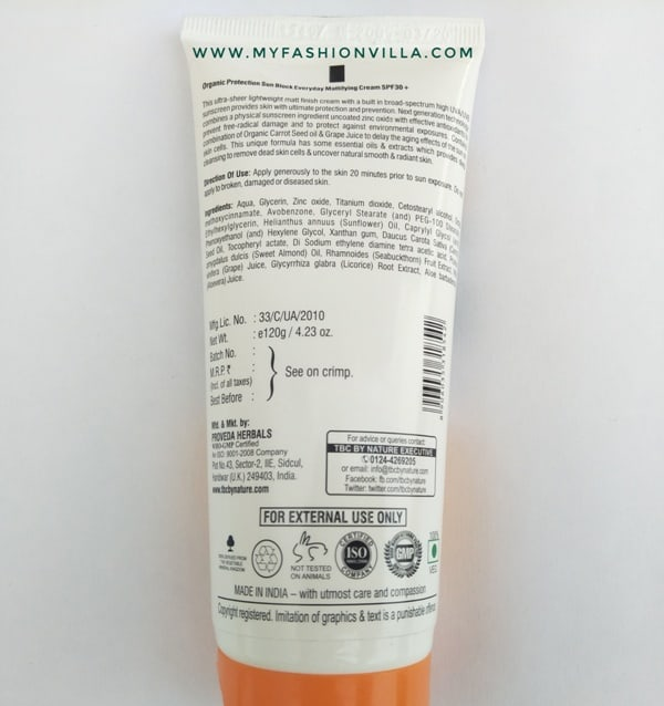 TBC Sunblock cream SPF 30+ UVB & PA+++ UVA packaging