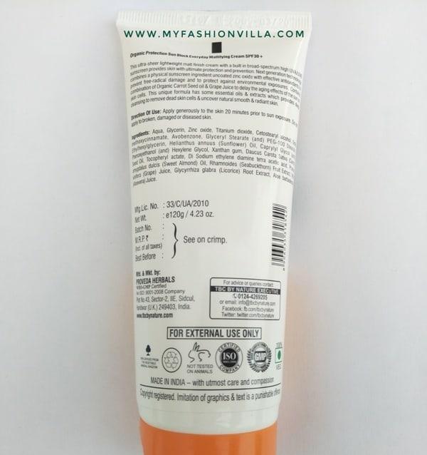 TBC Sunblock cream SPF 30+ UVB & PA+++ UVA packaging