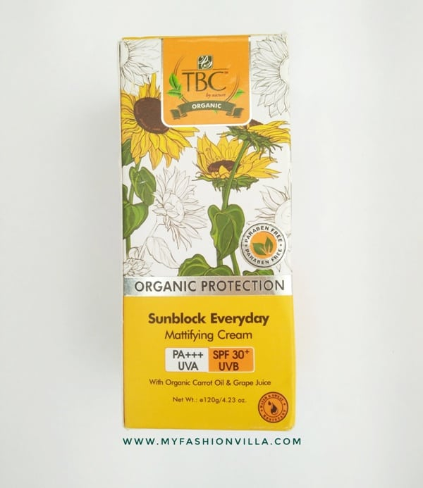 TBC by Nature Organic Sunblock Mattifying Cream SPF 30+ UVB Review