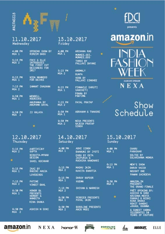 Amazon India Fashion Week Spring Summer 2018 Show Schedule