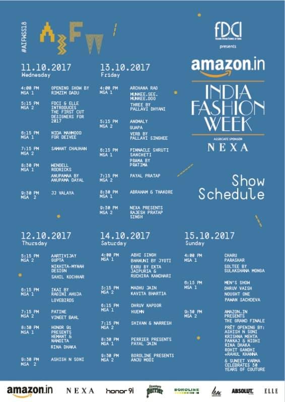 Amazon India Fashion Week Spring Summer 2018 Show Schedule