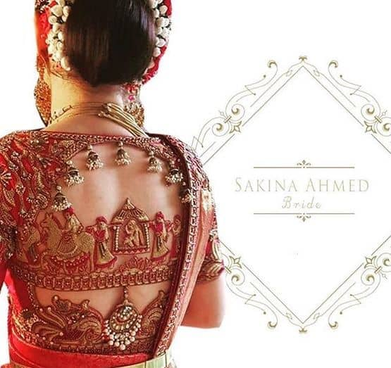 Bride's Favorite Blouse with Back zardosi work