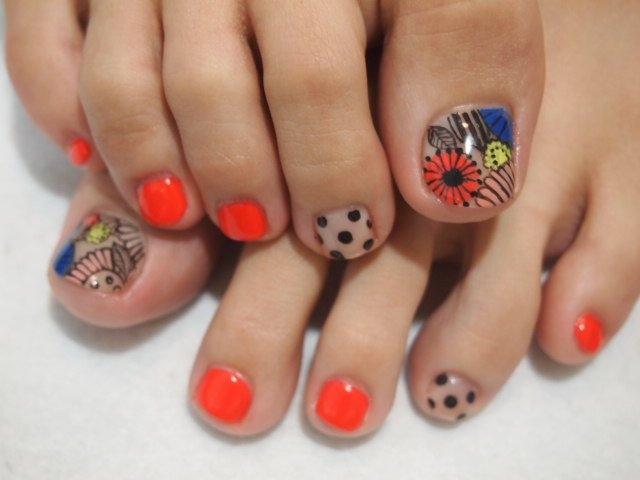 multi-color  nail art