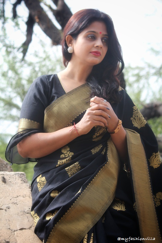 Black & Gold Art Silk Saree MyFashionVilla